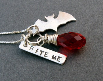 sterling silver bat pendant necklace. Bite Me