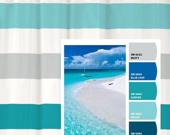 Shower Curtain in Beach Inspired Stripes Standard and Long Lengths 70, 74, 78, 84,or 96 inches Let's make one in your colors!