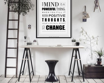 Your Mind is A Powerful Thing- Quote Buddha, Print