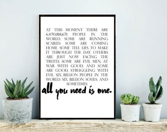 One Tree Hill Quote, OTH, One Tree hill poster, One tree hill quotes, OTH poster, One tree hill print, inspirational quote
