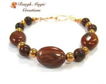 Burgundy Bracelet, Dark Red Gemstone, Poppy Jasper, Semi Precious Stone, Copper Beaded Bracelet, Earthy Colors, Gift for Women for Her B191