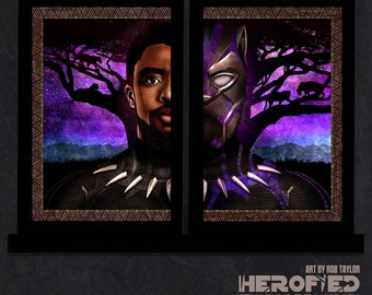 """Black Panther Inspired """"T'Challa"""" 2 Print Set by Herofied"""