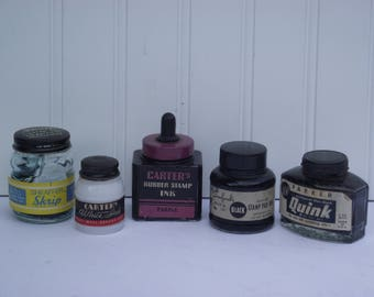 Five vintage (1950;s) ink bottles with labels, some with ink, and, original metal or bakalite caps, and all in good condition.