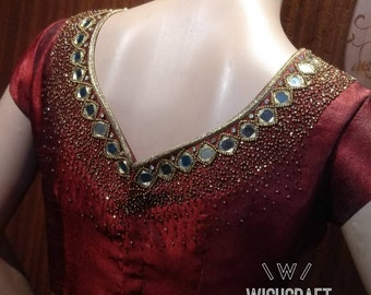 Mirror work designer blouse