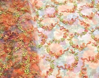 Tangerine Tulle, Pastel Flowerd Tulle Fabric, Embroidered Floral Tulle, Wedding Dress, Fairy Costume, Garden Wedding, Summer Dress