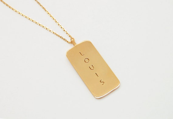 18K Gold Dog Tag Necklace Custom Mens Necklace 18K Gold Mens