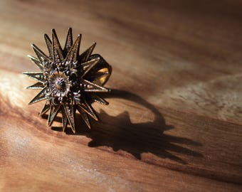 Vintage 1950s Celestial Sunburst Statement Ring Atomic Age