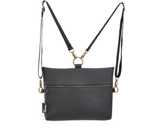 Classic black backpack (4 bags in 1), rectangle backpack, vegan bag, Side bag, clutch purse eco friendly bag, mini backpack, cross body bag