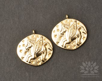 P914-02-MG// Matt Gold Plated 20mm Unicorn Coin Pendant, 2pcs