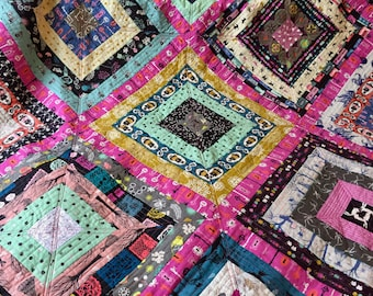 Large Halloween inspired patchwork quilt, velvet backed quilt, lap quilt, goth teen quilt, modern handmade patchwork quilt