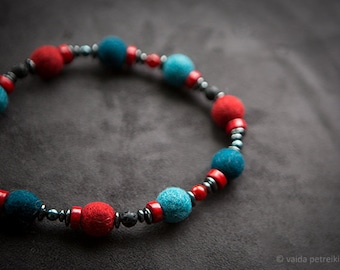 Felt necklace Colorful necklace Blue turquoise shades Asymmetrical fashion jewelry Black lava Red ceramics Wool anniversary gift for her
