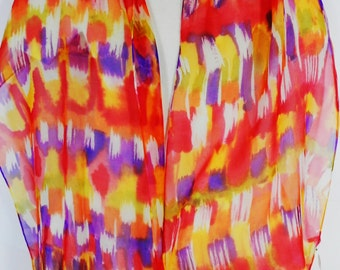 Silk Chiffon Hand Painted Long Scarf in Watercolor Warp of Coral, Tangerine, Yellow and Violet
