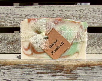 Ginger Patchouli Handcrafted Soap with Cocoa Butter, Handmade Soap, Artisan Soap, Handcrafted