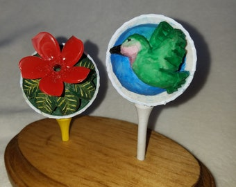 Hand Carved Golf Balls. Humming Bird and Flower.