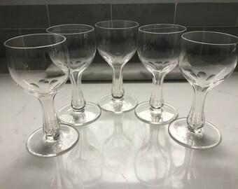 Vintage Hollow Stem Champagne Glasses - set of 5