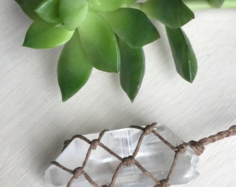 Clear Quartz Crystal Point Necklace - Handmade Hemp Healing Crystal Jewelry - Natural Lemurian Quartz Point - Hippie Gypsy Style Pendant