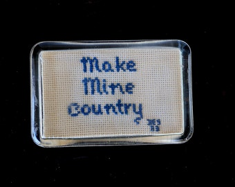Glass Paperweight Make Mine Country  Hand Made Crochet Nashville Music Mountains Country charm Gift Idea 24