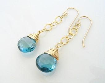 London Blue Topaz Chain Earrings, Blue Gemstone Earrings, December Birthstone, Gold London Blue, Blue Topaz Jewelry, Gold Filled Gemstone