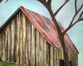Watercolor Barn Original  NOT A PRINT - Size: 9x12 inches