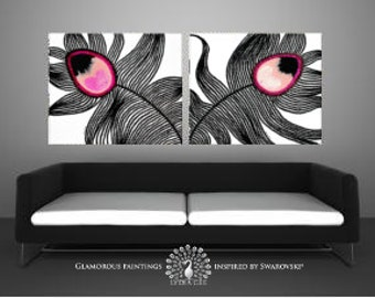 Acrylic painting canvas art MY PRIDE pink peacock feather + Swarovski® + glitter. Pink magenta rose decor abstract paintings. Pink paintings