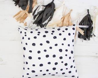 Polka dots Cushion, Scandinavian style cushions, Minimalist, housewarming gift, throw pillows, black and white, decorative pillow, britain