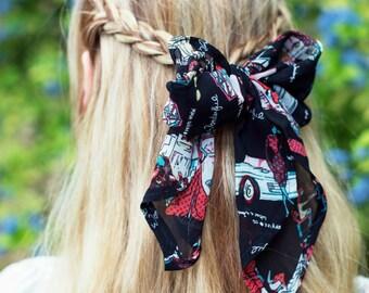 Italian Head Scarf, Chiffon Hair Scarf, Retro Vintage Hair Tie, Summer Head Scarf, Vintage Head Wrap, Hair Accessory