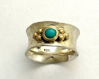 Turquoise ring, gemstone ring, silver gold ring, Sterling silver band, turquoise jewelry, twotones ring, wide band - always yours R1019B