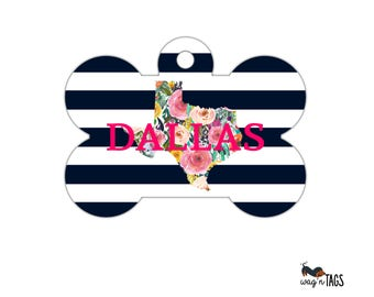 Floral State Dog Tag, Floral and Stripes Dog Bone Tag for Dogs, State Dog Tag for Dogs, Texas Dog Tag, Floral State Pet Bone Tag, Your State