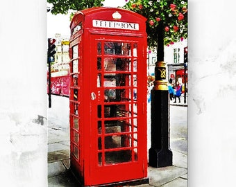 "Red Telephone Booth - London England Phone Booth - Canvas Art Print - British Decor - London Gift - Telephone Box - London Art Print  8""x12"""