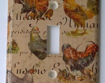 Roosters Single Light Switch Plate Cover