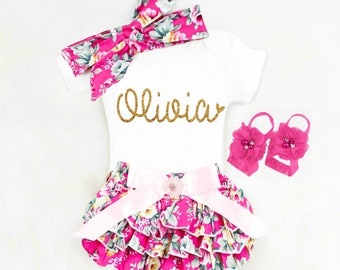Personalized Baby Girl Outfits, Baby Clothes, Baby Shower Gift Personalized Gift Baby Girl Coming Home Outfit Boho Baby Clothing Bloomers