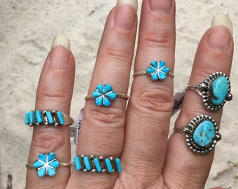 Petit point turquoise ring/6&8