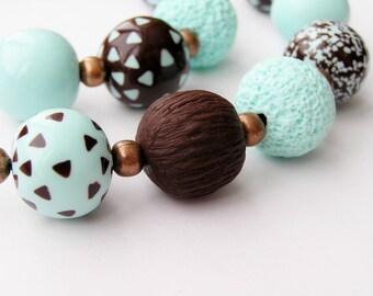 Jewelry Set necklace and bracelet light turquoise chocolate necklace light turquoise necklace brown bracelet light turquoise gift for her