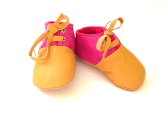 SALE 18 - 24 Months Slippers / Baby Shoes Lamb Leather Pink Mustard Yellow