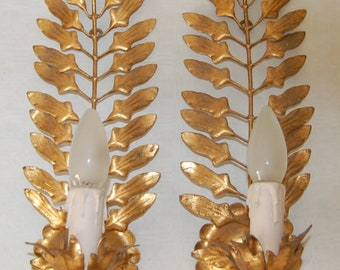 Pair vintage Hollywood Regency palm leaves wall lamps