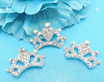 AB IRIDESCENT Crystal Rhinestone Tiara Princess Crowns Silver Metal Flat Backs DIY Embellishment Bridal Wedding Accent Cake Decorations 30Mm