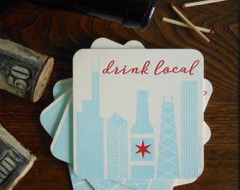 letterpress chicago drink local coasters pack of 4 coasters thick paper chicago beer party decoration