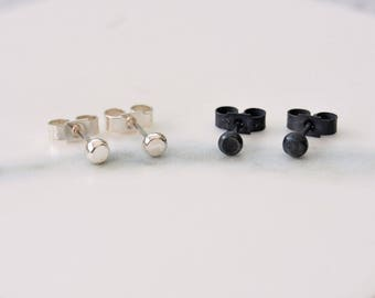 Black or Silver Dot Earrings - Choice of Oxidised or Shiny Sterling Silver Studs - Handmade Earrings - Minimalist Jewellery