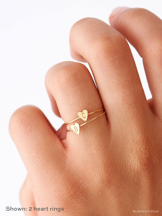 Gold And Diamond Initial Ring