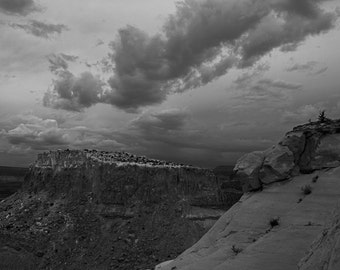 Near Ghost Ranch, Abiquiu, NM-Storm Approaching With Orphan Mesa - 0374 bw