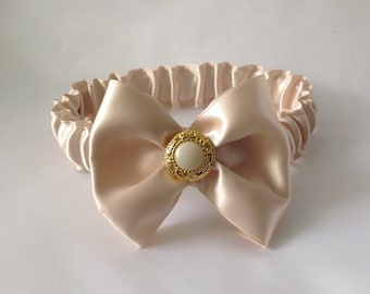 Champagne Headband in sizes newborn, 3 months and 3+years, Chic, satin, ribbon bow, Ready to Ship, christening, flower girl, wedding.