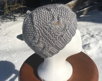 Hand Knit Gray Child's Great Horned Owl Hat