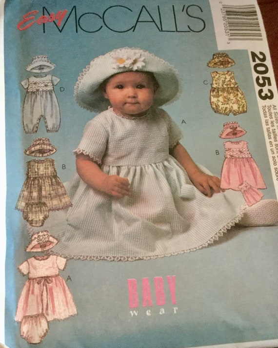 ac9986b40449 McCalls 2053 Infants Dress Rompers Panties and Hat