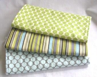 Boutique Burp Cloth Set - Amy Butler fabrics - 3 coordinating burp cloths w blue terry cloth