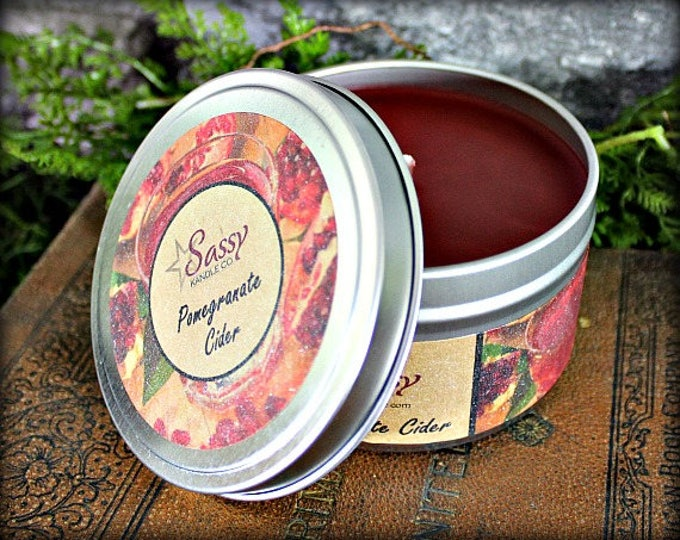 POMEGRANATE CIDER   Candle Tin (4 or 8 oz)   Sassy Kandle Co.