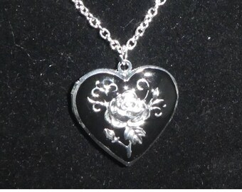 Silver Plated with black enamel Heart shaped Locket necklace