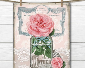 Vintage Mother's Day Printable, Rose, Mason Jar, French Graphics, Lace, Mother's Day Crafts, Gift, Digital Art