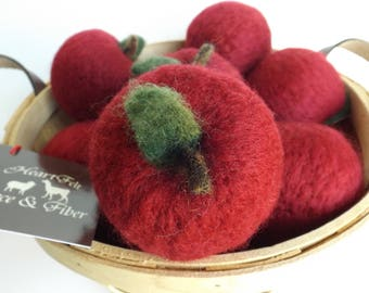 """4"""" Felted Wool Apple (one)"""