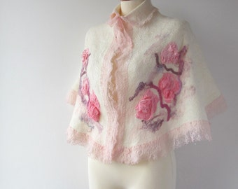 RESERVED Nuno felted capelet wrap stole -Wedding Rose