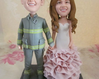 Firefighter Fireman Wedding Cake Topper Firefighter Fireman Personalized Wedding Bobble Head Figurine Based on Customers Photos Wedding Gift